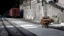 Alles wird hier mit dem Zug angeliefert, sogar Brennholz.