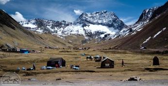 Das Basislager vor dem Rainbow Mountain. Hier kann man sogar zwischen Alpakas im Schnee zelten.